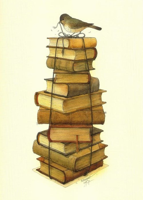 Books Greeting Cards Birds Greeting Card featuring the painting Books and little Bird by Kestutis Kasparavicius