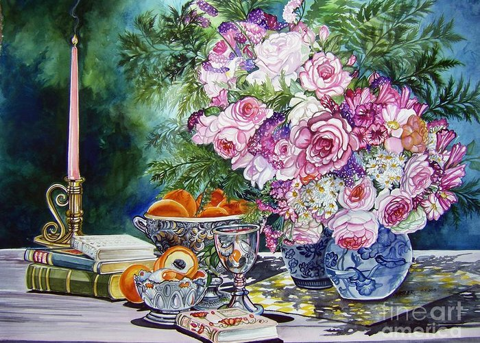 Chabrier Greeting Card featuring the painting Books Bouquets Shadows And Light by Anne Shoemaker-Magdaleno