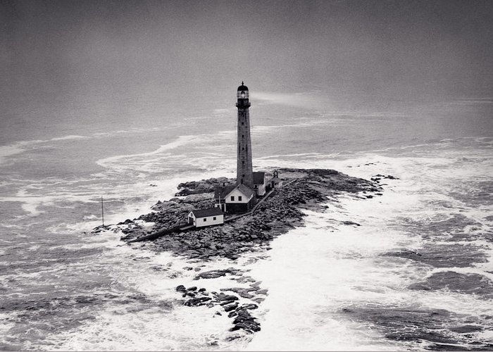 Lighthouse Greeting Card featuring the photograph Boon Island Light Tower Circa 1950 by Aged Pixel