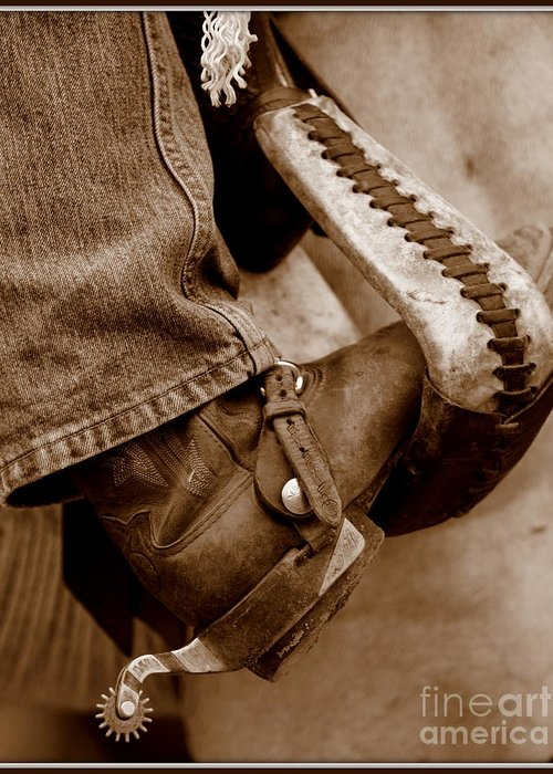 Horse Greeting Card featuring the photograph Boot N Stirup by Bill Keiran