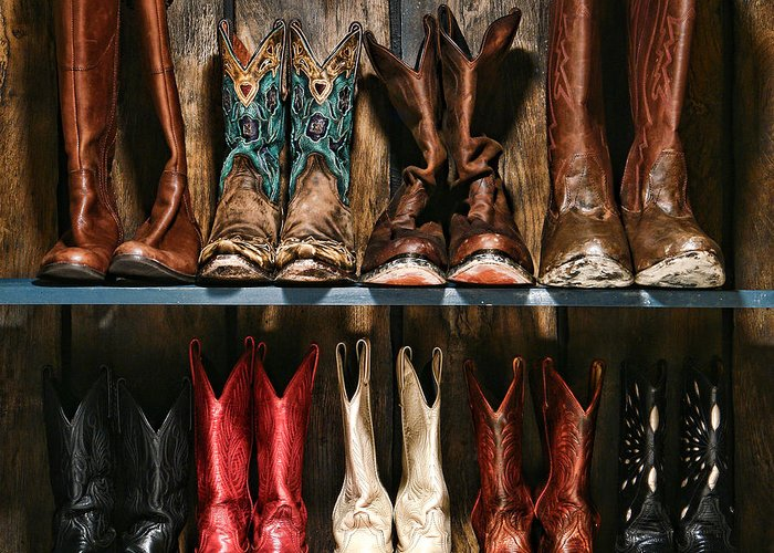 Cowboy Greeting Card featuring the photograph Boot Rack by Olivier Le Queinec