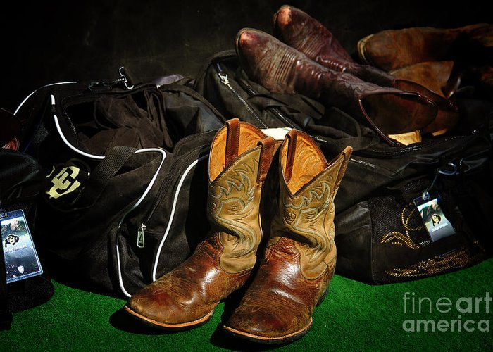 Boulder Greeting Card featuring the photograph Boots And Bags by Bob Hislop