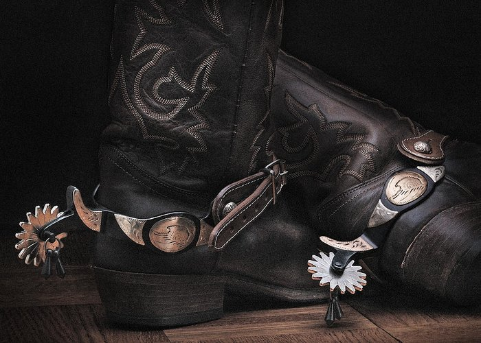 Bootsandspurs Greeting Card featuring the photograph Boots And Spurs by Krasimir Tolev