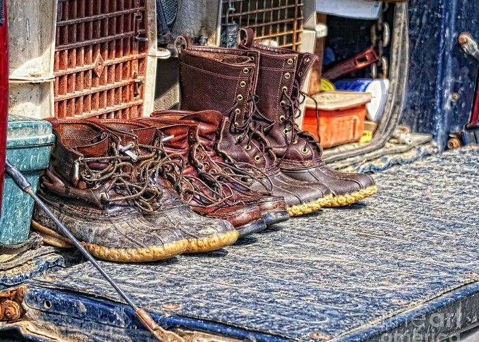 Hunting Greeting Card featuring the photograph Boots Lined Up After The Hunt by Timothy Flanigan Debbie Flanigan Nature Exposure