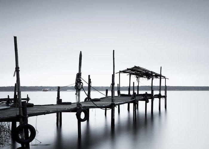Tranquility Greeting Card featuring the photograph Bootssteg Im Alten Hafen Klein Zicker by Spreephoto.de