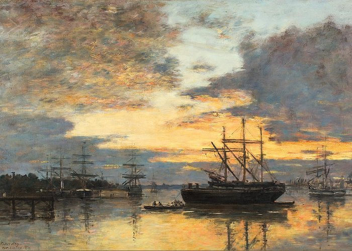 Bordeaux Greeting Card featuring the painting Bordeaux In The Harbor by Eugene Louis Boudin