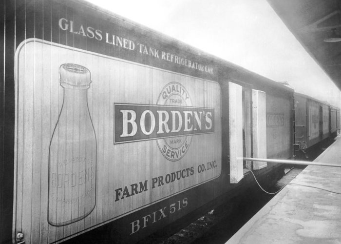 1920s Greeting Card featuring the photograph Borden's Milk Refrigerator Car by Underwood Archives