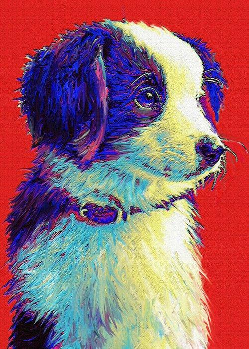 Puppy Greeting Card featuring the digital art Border Collie Puppy by Jane Schnetlage