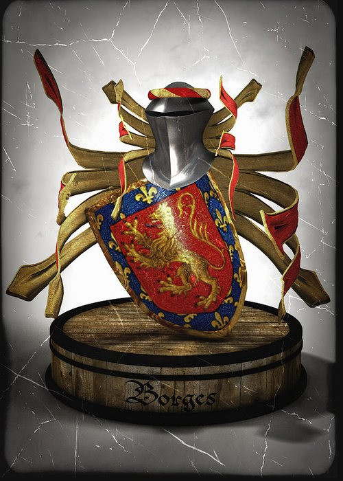 Medieval Greeting Card featuring the digital art Borges Family Coat Of Arms by Frederico Borges
