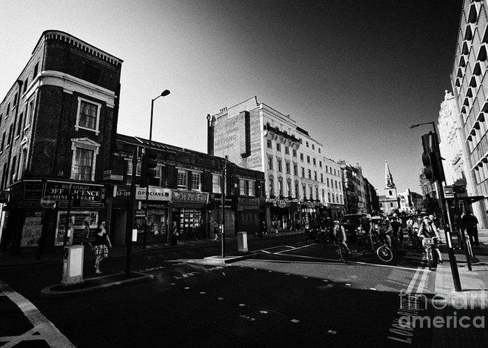 High Greeting Card featuring the photograph borough high street morning London England UK by Joe Fox
