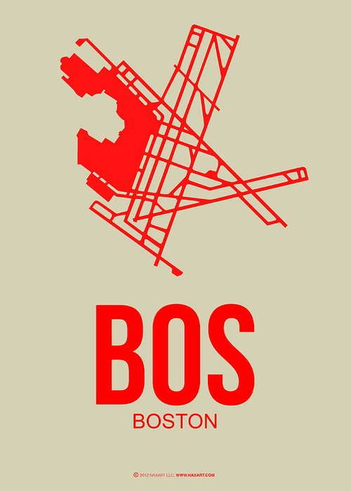 Boston Greeting Card featuring the digital art Bos Boston Airport Poster 1 by Naxart Studio