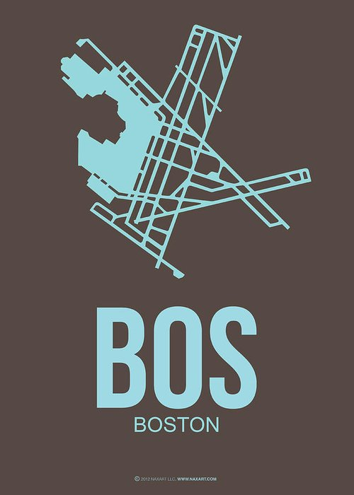 Boston Greeting Card featuring the digital art Bos Boston Airport Poster 2 by Naxart Studio