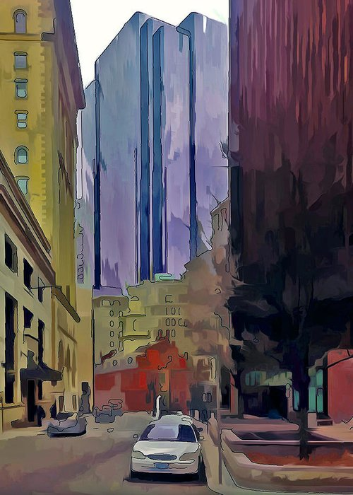 Bosotn Greeting Card featuring the digital art Boston City Centre 2 by Yury Malkov