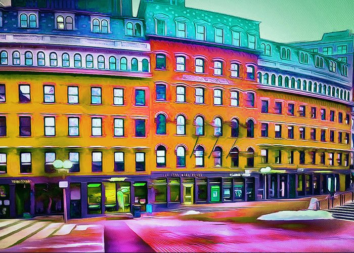 Boston Greeting Card featuring the digital art Boston Colors 1 by Yury Malkov