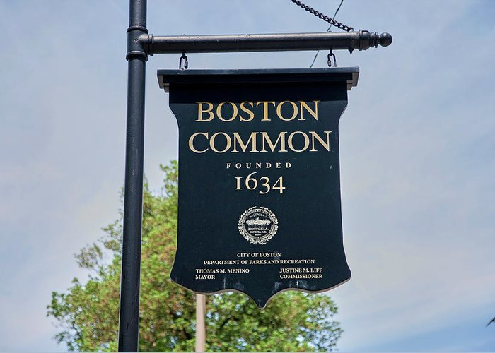 Photography Greeting Card featuring the photograph Boston Common Park Sign, Boston, Ma by Panoramic Images