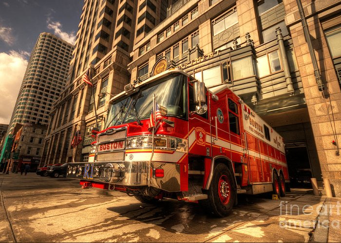 Fire Greeting Card featuring the photograph Boston Fire Truck by Rob Hawkins