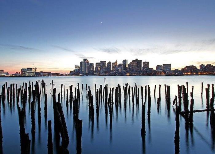 Boston Greeting Card featuring the photograph Boston Harbor Skyline With Ica by Juergen Roth