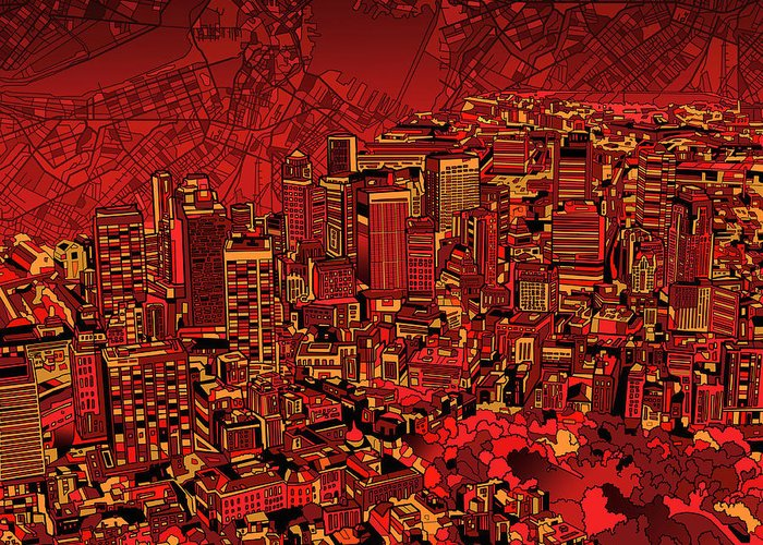 Boston Greeting Card featuring the painting Boston Panorama Red by Bekim Art
