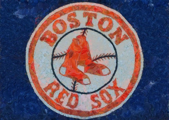 Boston Red Sox Greeting Card featuring the painting Boston Red Sox by Dan Sproul
