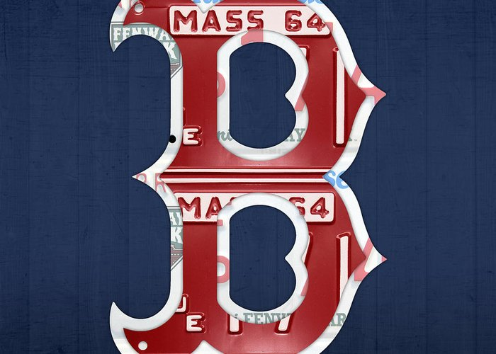 Boston Greeting Card featuring the mixed media Boston Red Sox Logo Letter B Baseball Team Vintage License Plate Art by Design Turnpike