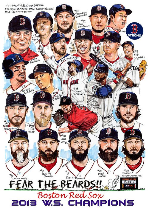 Red Sox Drawings Greeting Cards