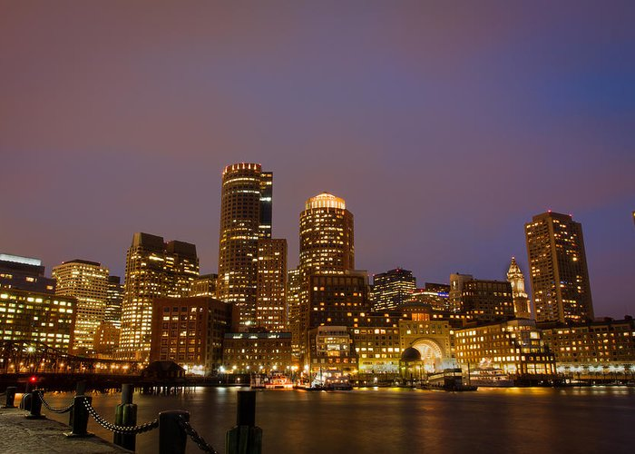 Boston Greeting Card featuring the pyrography Boston Skyline Blue Hour by Stewart Mellentine