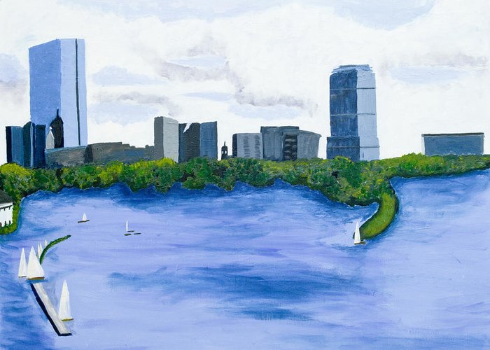 Landscape Greeting Card featuring the painting Boston Skyline by Carmela Cattuti
