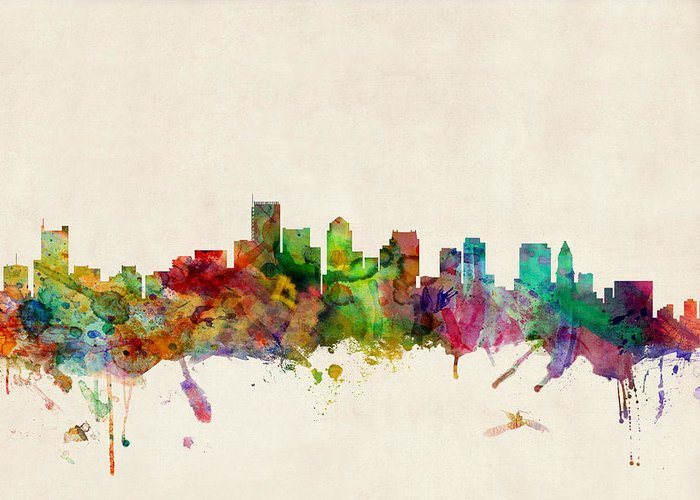 Watercolour Greeting Card featuring the digital art Boston Skyline by Michael Tompsett