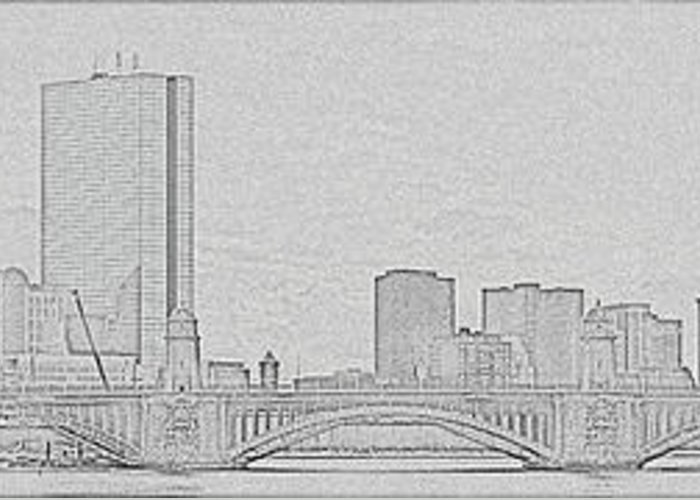Boston Greeting Card featuring the photograph Boston Skyline Stencil by Meandering Photography