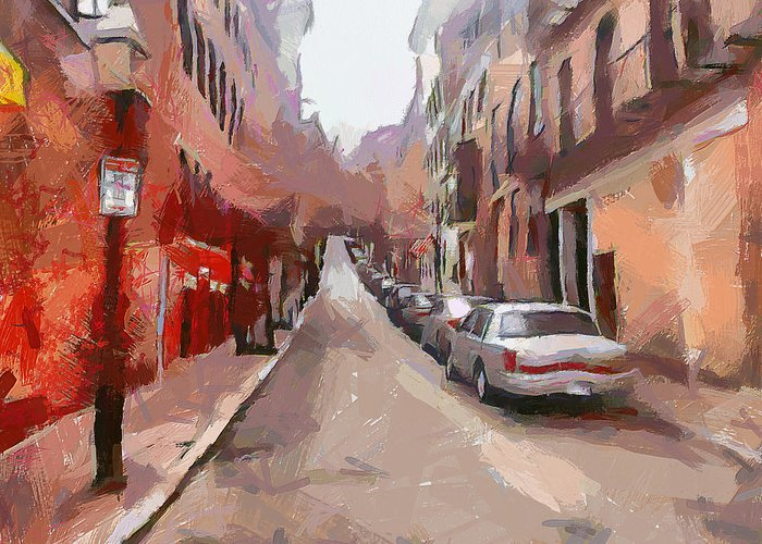 Boston Greeting Card featuring the digital art Boston Streets 1 by Yury Malkov