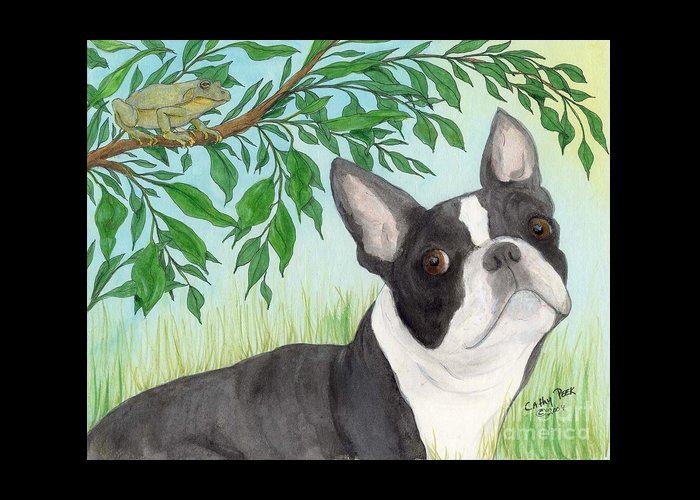 Boston Greeting Card featuring the painting Boston Terrier Dog Tree Frog Cathy Peek Art by Cathy Peek