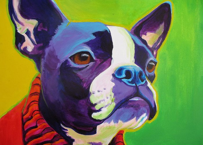 Boston Greeting Card featuring the painting Boston Terrier - Ridley by Alicia VanNoy Call