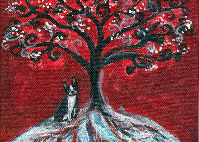 Boston Terrier Greeting Card featuring the painting Boston Terrier Tree Love by Angie Ketelhut