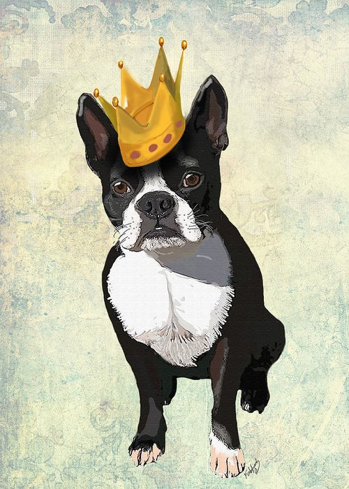 Boston Terrier Framed Prints Greeting Card featuring the digital art Boston Terrier With A Crown by Kelly McLaughlan