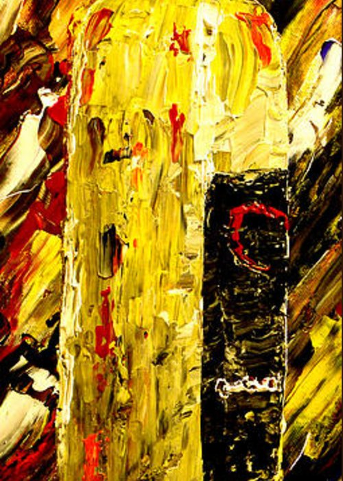 Popular Greeting Card featuring the painting Bottle Of Wine by Mark Moore