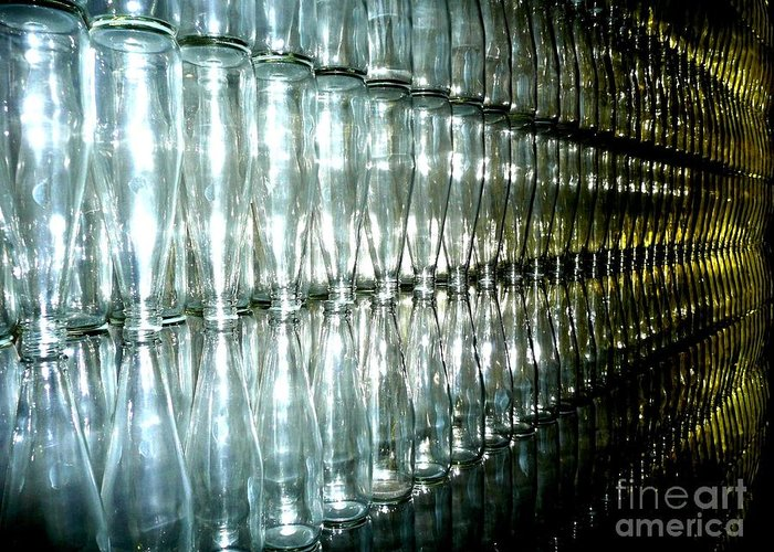 Glass Greeting Card featuring the photograph Bottle Wall by Sara Graham
