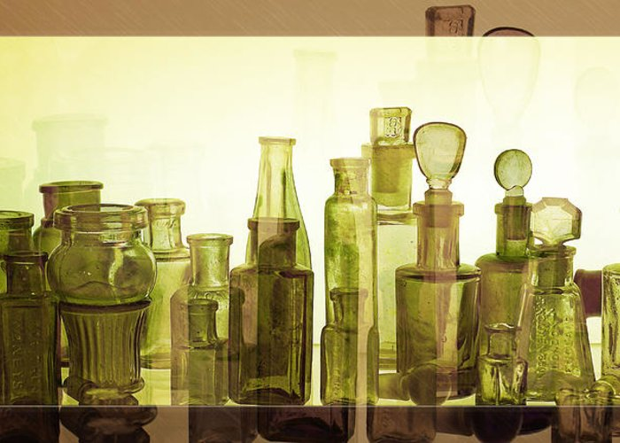 Bottles Greeting Card featuring the photograph Bottled Light by Holly Kempe
