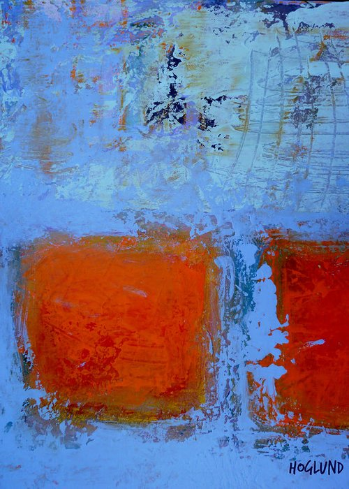 Abstract Orange Painting Greeting Card featuring the painting Bottom Orange by Dan Hoglund