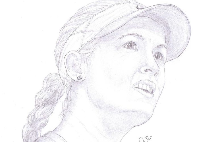 Eugenie Bouchard Greeting Card featuring the drawing Bouchard by Steven White