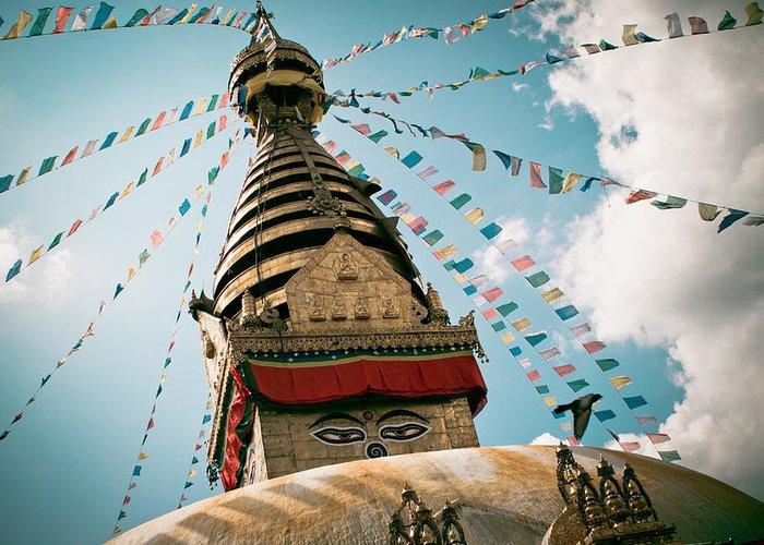 Wisdom Greeting Card featuring the photograph Boudhnath Stupa In Nepal by Raimond Klavins