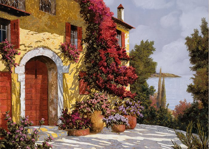 Bouganville Greeting Card featuring the painting Bouganville by Guido Borelli