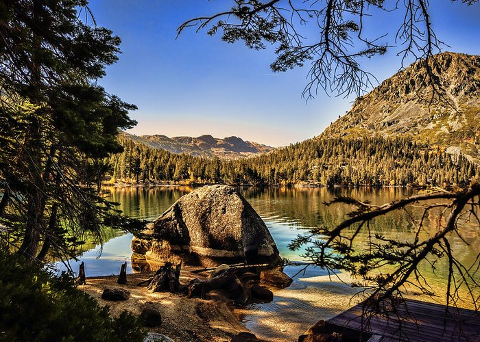 Lake Greeting Card featuring the photograph Boulder At Fallen Leaf Lake by William Havle