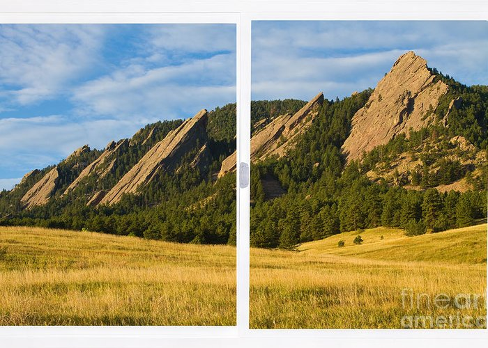 Colorado Greeting Card featuring the photograph Boulder Colorado Flatirons White Window Frame Scenic View by James BO Insogna