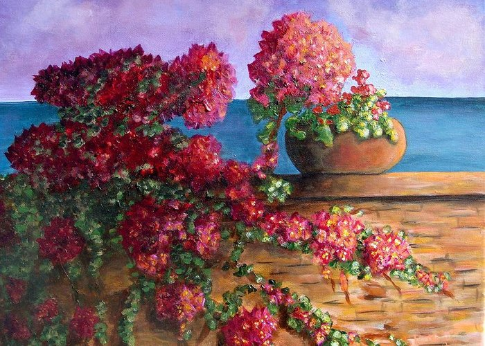 Bougainvillea Greeting Card featuring the painting Bountiful Bougainvillea by Laurie Morgan