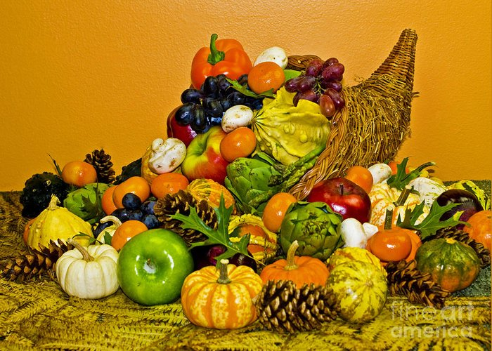 Cornucopia Greeting Card featuring the photograph Bountiful Harvest by Valerie Fuqua