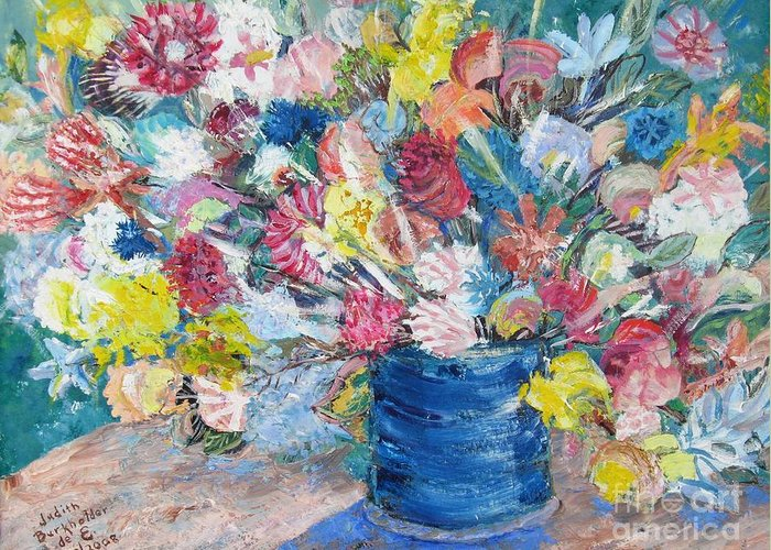 Flowers Greeting Card featuring the painting Bouquet 1 - Sold by Judith Espinoza