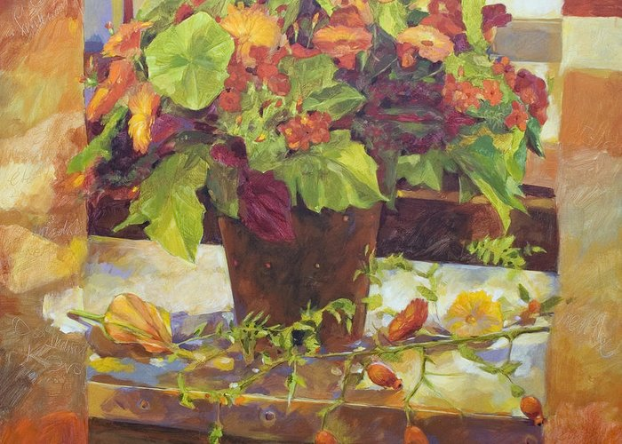 Flowers Garden Orange Yellow Green Brown Red Marigolds Stripes Nature Natural Home Outdoors Indoor Interior Designers French Country European Square Sun Bright Colourful Happy Fall Autumn Warm Black Vintage Leaves Contemparary Fall Autumn Leaves Fall Colours Impressionism Photo Realism Abstract Still Life Floral Kitchen Table Dinner Food And Beverages Blue Dark Vase Farmers Garden Fruits Roses Pink White Window Greeting Card featuring the painting Bouquet by Anke Classen