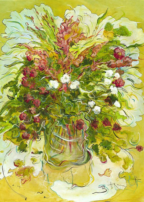 Bouquet Greeting Card featuring the painting Bouquet Jaune - Original For Sale by Bernard RENOT