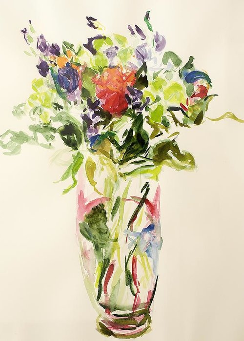Still Lives Of Flowers Greeting Card featuring the painting Bouquet by Julie Held