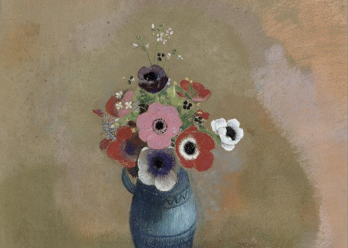 Still Life; Blue Jug; Vase Greeting Card featuring the painting Bouquet Of Anemones by Odilon Redon